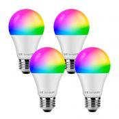 LE WiFi Lampe, 8.5W Dimmbar Smart LED Birne, E27 RGB + mit einstellbarer Helligkeit 2700-6500K, kompatibel mit Alexa (Echo, Echo Dot) und Google Home, Kein Gateway erforderlich, 4er
