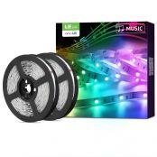 10M(2 * 5M) RGB Smart LED Streifen mit Musik, Alexa LED Strip  [nur 2.4GHz] WiFi LED Leiste Lichterkette