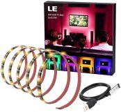 LE RGB Streifen Selbstklebend, TV Hintergrundbeleuchtung USB LED Strip mit 60 Stück 5050 LEDs, IP65 Wasserdicht, 2m LED Band für 40-60 Zoll TV für Raumausstattung Dekoration LED Fernseher Beleuchtung