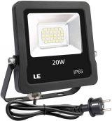 LE LED Fluter mit EU Stecker, 20W 1600 Lumen Kaltweiß Superhell Strahler, IP65 Wasserdicht Scheinwerfer für Garten, Garage, Hotel, Hof usw