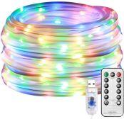 Lepro 12m Lichtschlauch, 100 LEDs 8 Modi Dimmbar USB Lichterschlauch mit Fernbedienung, IP65 Lichterkette für Innen Außen Party Hochzeit Weihnachten Deko, Mehrfarbig Leuchtschlauch