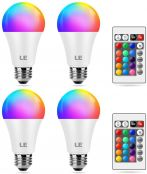 4 Stück Farbwechsel E27 LED Lampe, 9W Dimmbar Birne mit Fernbedienung, RGB & Warmweiß, 16 Farben, 9 W = 60 W, 2700 Kelvin LED Leuchtmittel, Fernbedienung inklusive[Energieklasse A+]