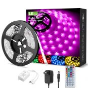 Lepro 15M LED Strip Set (2x7.5M), RGB LED Streifen Band, 5050 SMD LED Stripes, 12V, Selbstklebend Lichtband mit 44 Tasten Fernbedienung, Flexibel LED Leiste, LED Lichterkette für Haus,Party,Bar,TV