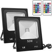LE LED RGB Strahler, 16 Farben und 4 Modi Flutlicht mit Fernbedienung, IP65 Wasserdicht LED Fluter, 50W Scheinwerfer mit EU Stecker für Garten, Garage, Dekoration usw. 2er Pack