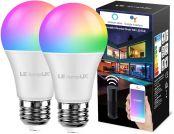 LE Wlan Lampe E27, 9W Intelligente Glühbirne, Wifi, Alexa, 806 lm, RGB Farben mit Warmweiß, verbunden, WiFi, kompatibel mit Google Home Alexa, Kein Gateway erforderlich, 2 Pack