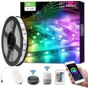 LE LED Strip Alexa, 5M LED Streifen mit Musik, IP20 Smart RGB Lichtband [nur 2.4GHz] WiFi LED Leiste Lichterkette für Haus, Küche, Party, TV, LED Band Kompatibel mit Alexa, Google Home