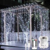 LE Lichtervorhang 3*3m, USB Lichterketten Vorhang 300 LEDs Kaltweiß, 8 Modi Dimmbare Kupferdraht, Lichterkette Batterie für Party Weihnachten Hochzeit Außen Innen Schlafzimmer Deko