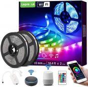 Lepro LED Strip Alexa, 10M(2 * 5M) LED Streifen mit Musik, IP20 Smart RGB Lichtband [nur 2.4GHz] WiFi LED Leiste Lichterkette für Haus, Küche, Party, TV, LED Band Kompatibel mit Alexa, Google Home