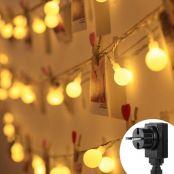 LE 100er LED Kugel Lichterkette 13M, Partybeleuchtung Außen 8 Lichtermodi mit Merkfunktion, Strombetrieben mit EU Stecker, Warmweiß, Ideal Weihnachtsbeleuchtung für Innen, Zimmer, Party, Deko usw