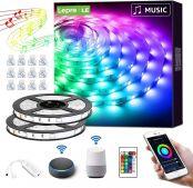 LE LED Strip Alexa mit Musik, 10M(2x5M) LED Streifen, IP20 Smart RGB Lichtband [nur 2.4GHz] WiFi LED Leiste Lichterkette für Haus, Küche, Party, TV, LED Band Kompatibel mit Alexa, Google Home