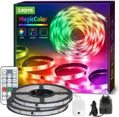 Lepro 15M Musik LED Strip(2x7.5M), MagicColor LED Streifen Band, 5050 SMD LED Stripes, 12V, Selbstklebend Lichtband mit Fernbedienung, Flexibel LED Leiste, LED Lichterkette für Haus,Party,Bar