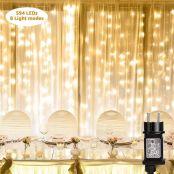 Lepro Lichtervorhang 3 * 6m, Lichterketten Vorhang 594 LEDs, 8 Modi Dimmbar Kupferdraht, Lichterkette Warmweiß mit Stecker für Party Weihnachten Außen Innen Schlafzimmer Deko