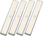 LE 4er Sensor Unterbauleuchte, Warmweiß Schrankleuchte mit Bewegungssensor, Batteriebetrieben Kabinett Vitrinenbeleuchtung, Küchenlampen