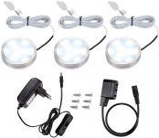 LE Schrankleuchten LED Unterbauleuchte Set, Inklusiv alle Zubehör, 120 Abstrahlwinkel, LED Lichtleiste, Küchenlampen, Vitrinenbeleuchtung Kaltweiß, 3er Pack