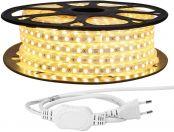 LE 25M LED Lichtband, 5050 SMD LEDs, 220V-240V LED Streifen, Superhelle warmweiß, IP65 wasserdichte außere dekorative Lichterketten