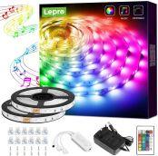 Lepro LED Strip 10M(2x5M) RGB Mit Musik, LED Streifen Sync Set mit Fernbedienung, Licht Band Farbwechsel, LED Lichterkette IP20,Flexibel LED Leiste,Lichtband Lichter für Party Küche Weihnachten Deko