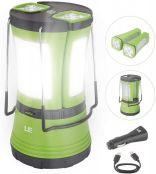 LE LED Campinglampe, Notfallleuchte Batteriebetrieben & Wiederaufladbare Suchscheinwerfer inkl. 2 Abnehmbaren Mini Taschenlampen und Kompaß, 2 Helligkeiten Dimmbar, USB-Kabel und KFZ Auto-Ladegerät