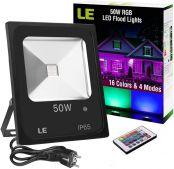 LE LED RGB Strahler, 16 Farben und 4 Modi Flutlicht mit Fernbedienung, IP65 Wasserdicht LED Fluter, 50W Deko Außenstrahler mit EU Stecker für Garten, Garage, usw.