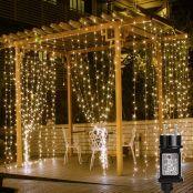 LE LED Lichtervorhang 3m x 3m, 8 Modi 306 LEDs Vorhang Lichterkette, Warmweiß Lichterkettenvorhang, Lichterketten für Außen Innen Deko Schlafzimmer, Partydekoration, Weihnachten, Hochzeit