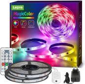 Lepro 10M(5M*2) LED Strip MagicColor RGB Mit Musik, LED Streifen Sync Set mit Fernbedienung, IP65 Wasserdicht Licht Band,Farbwechsel Lichterkette Flexibel, Lichtband Leiste für Party Weihnachten Deko