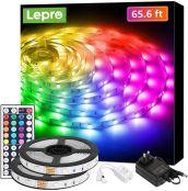 Lepro 20M LED Strip Set (2x10M), RGB LED Streifen Band, 5050 SMD LED Stripes, 12V, Selbstklebend Lichtband mit 44 Tasten Fernbedienung, Flexibel LED Leiste, LED Lichterkette für Haus,Party,Bar