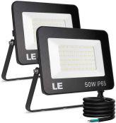 LE 50W LED Strahler Außen 2 Stück, 5000LM Superhell Außenstrahler, IP65 Wasserdicht LED Fluter, 5000K Kaltweiß Aussenstrahler Flutlicht Dimmbar, Aussenlampe für Gärten, Innenhöfe, Garage, Hotel