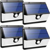 LE LED Solarlampe für Außen mit Bewegungsmelder, Superhell Solarleuchte Garten, 30 LEDs Sicherheitswandleuchte mit 2 Modi 2200mAh Akku für Garten, Garage, Auffahrt, Pfad, Hof & Balkon, 4er Pack