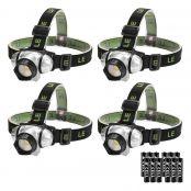 LED Kopfleuchten, Viererpack, vier Lichtmodi, weiß rot, Blinklicht Dauerlicht, Batterien inklusive