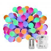 50er LED Kugel Lichterkette 5m Farbig Lichterketten IP44 batteriebetrieben Fernbedienung Zeitschaltuhr Merkfunktion
