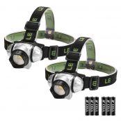 LED Stirnlampe Kinder, LED Kopflampe, vier Lichtmodi, weiß rot, Blinklicht Dauerlicht, Batterien inklusive, 2er Set