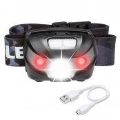 LED Stirnlampe, USB Kabel inkl., Kopflampe für Camping
