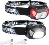 LE USB Wiederaufladbar Stirnlampe, 2000 lux LED XPG LED Kopflampe D500 mit 6 Lichtmodi Scheinwerfer und Rotlicht, leicht und superhell, ideal für Wandern, Camping, Ausflug. USB Kabel inklusive