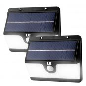 2er Solarleuchten mit Bewegungsmelder Set, Kaltweiß Wasserfest Außenleuchte, 2 Lichtmodi, Solarbetrieben Nachlicht