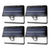 4er Solarleuchten mit Bewegungsmelder Set, Kaltweiß Wasserfest Außenleuchte, 2 Lichtmodi, Solarbetrieben Nachlicht