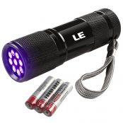 UV LED Schwarzlicht Taschenlampe, 9 LEDs Handlampe, 395nm Ultra Violett, Batterien inkl.