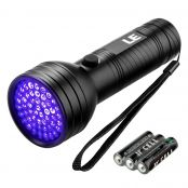LED UV Taschenlampe, 51 LEDs 395 nm Schwarzlicht, 3 AA-Batterien inkl., Flecken Detektor