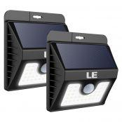 Solarbeleuchtung mit Bewegungsmelder, Kaltweiß Wasserfest Außenleuchte, 3 Lichtmodi, Solarbetrieben Nachlicht, 2er Pack