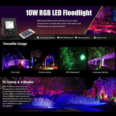 TYCOLIT RGB Strahler 10W Led Fluter RGB mit Fernbedienung Weihnachten Innen IP67 Wasserdicht Led Flutlicht f/ür Garten 16 Farben 4 Modi Au/ßenstrahler RGB LED mit Memoryfunktion Party Deko