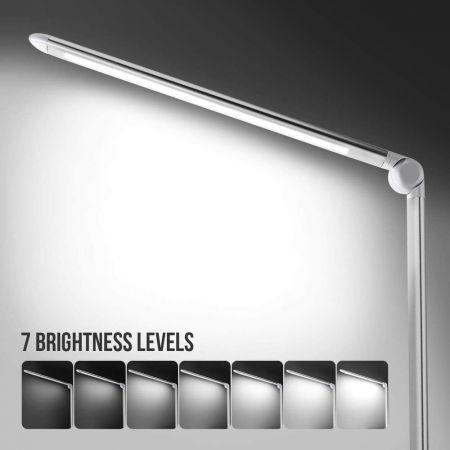 Wei/ß Linkind Sensor Schreibtischlampe Leselampe mit einzigartigem Nachtlicht 4000k Bleuchten 19W Dimmbare Runde Tischleuchte mit 7 Helligkeiten
