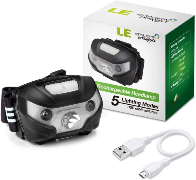 USB Kabel inkl. USB Wiederaufladbar LED Stirnlampe 6 Lichtmodi Kopflampe IPX4