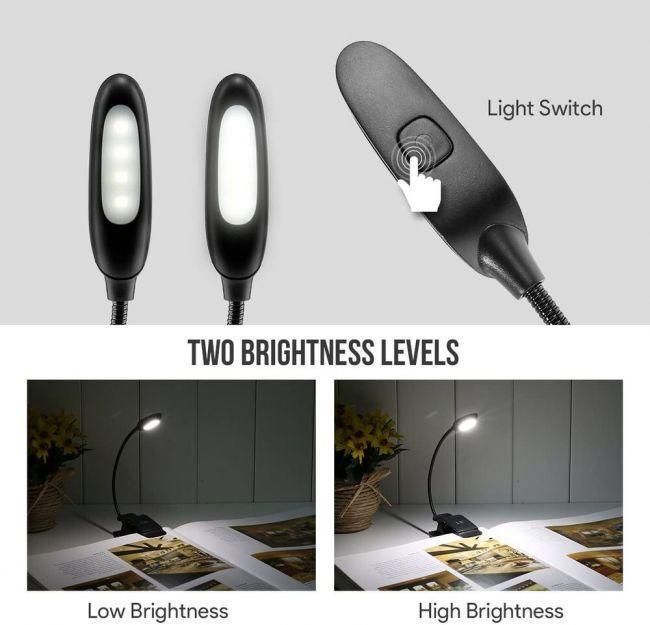 DHL LED Klemmleuchte Leselampe 2 Lichtmodi Dimmbar Tischleuchte Schreibtischlamp